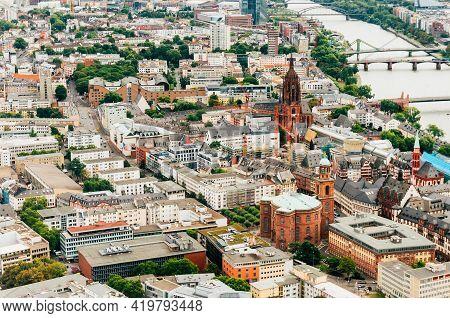 Frankfurt, Germany - August 28,2015 :beautiful View Over The City Of Frankfurt Am Main,germany