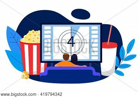 Young Couple Watching Tv On A Sofa At Home Vector Illustration Home Movie Theater Concept