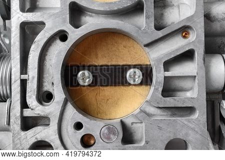 Close Up Of Bottom View Of Chamber With Choke Of Car Carburetor, Small Depth Of Focus. Automotive Pa