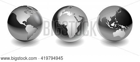 Set Of Steel Metallic Balls Or Silver Balls Shadows Or Globe World Map Steel Metallic Sphere Reflect