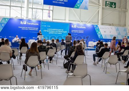 Moscow, Russia - 14 April 2021 :  Hall For Presentations And Lectures On International Exhibition Of