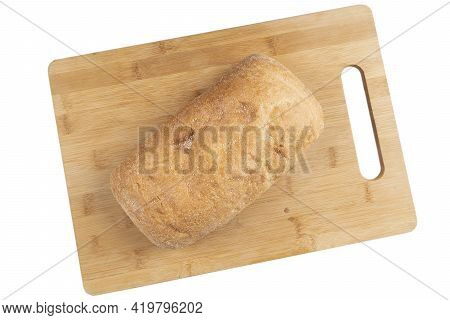 Fresh Testy Wheat Bread Isolated On White Background. Bakery Concept