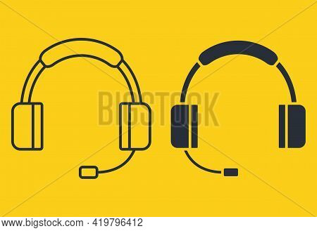 Earphones Icon. Headphones In Glyph And In Outline Style. Headset In Silhouette. Headphones With Mic
