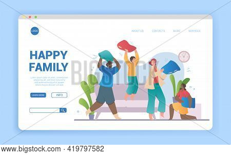 Happy Laughing Multiracial Family Fighting At Home On Pillows. Flat Cartoon Vector Illustration. Web
