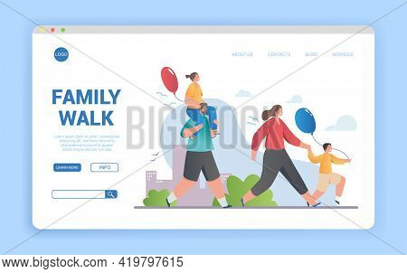 Happy Family Spending Time Together Outdoors. Loving Mother, Father, Son And Daughter Walking. Kids