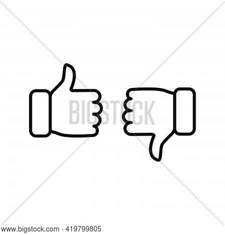Thumbs Up And Thumbs Down Icon. Like And Dislike Line Sign. Disagree With Agree Outline Symbol. Arm