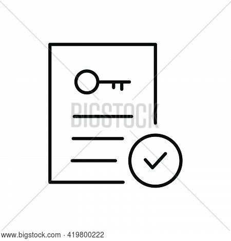 Document With Key Outline Icon. Accept Property Line Documents. Realtor Rent Document. Real Estate C