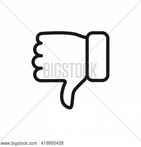 Thumb Down Icon. Hate And Disagree Outline Symbol. Disapproval Arm Line Gesture. Vector Isolated On