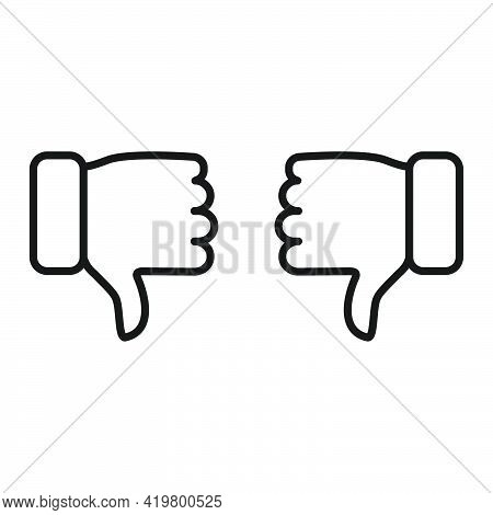 Thumbs Down Icon. Hate And Disagree Outline Symbol. Disapproval Arms Line Gesture. Vector Isolated O