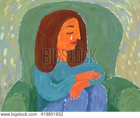 Hand-drawn Art Illustration Of A Woman Sitting And Crying. Hand-drawn With Brush Strokes Drawing Of
