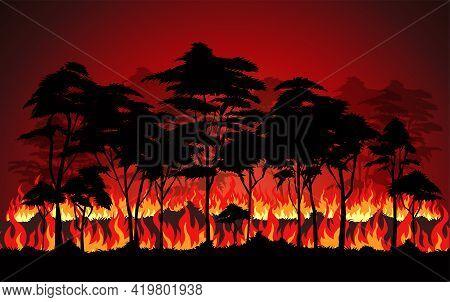 Forest Fires , Wildfire Disaster Illustration, Burning Trees, Nature In Danger Vector Design.