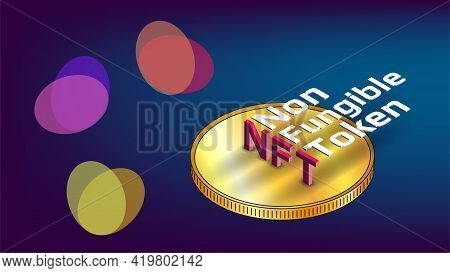 Nft Non Fungible Tokens Infographics With Isometric Text On Golden Coin And Abstract Shapes On Blue