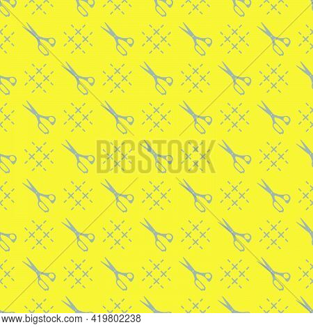 Seamless Pattern With Scissors. Sewing And Needlework Background. Template For Design, Fabric, Print