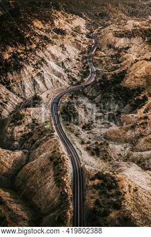 Drone shot of a scenic route in Utah