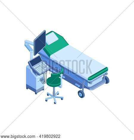 Isometric Icon With Ultrasound Machine Bed And Stool 3d Vector Illustration