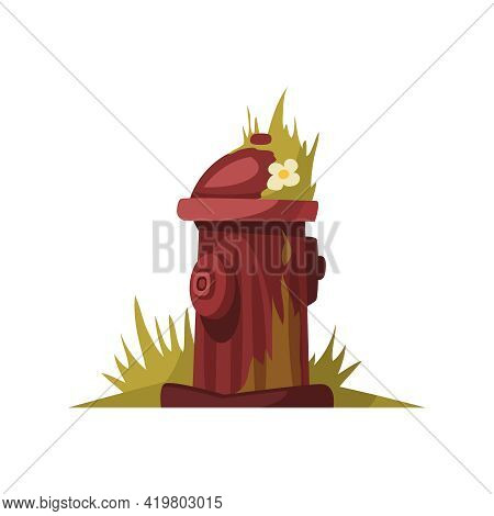 Cartoon Icon Of Abandoned Fire Hydrant In Deserted City Vector Illustration