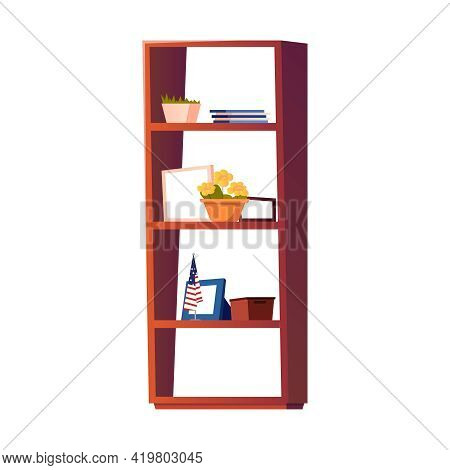 Bookcase With Various Decor For Living Room Interior Flat Vector Illustration