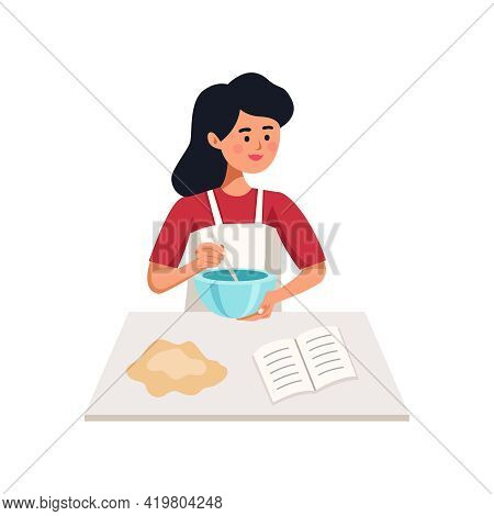 Woman Cooking Pastry Beating Dough And Reading Cookery Book Flat Vector Illustration