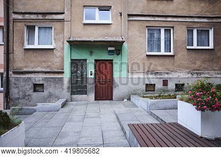 Front Door Of Old Apartment Building In Former Soviet Republic