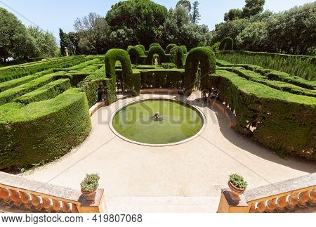 Barcelona - Spain. June 26, 2019: The Entrance To The Famous Labyrinth In Park Of The Labyrinth Of H