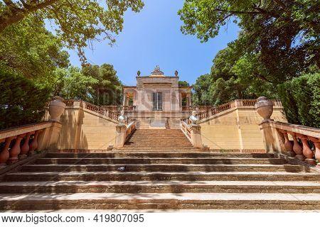 Barcelona - Spain. June 26, 2019: The Entrance To The Famous Park Of The Labyrinth Of Horta (parc De