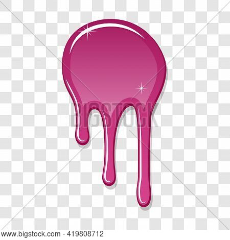 Drip Paint Spot 3d Isolated White Transparent Background. Pink Ink Splash. Splatter Stain Texture. D