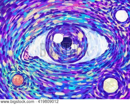 Bright Colorful Eye Pattern. Hand Drawn Illustration By Brush Strokes. For Meditation, Contemplation