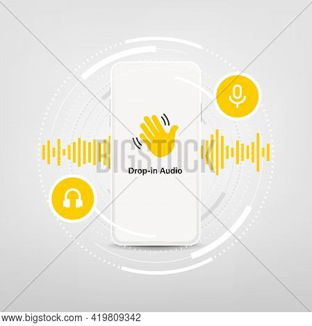 Smartphone With Waving Hand, Text Drop-in Audio And Microphone. Audio Chat Social Network Applicatio