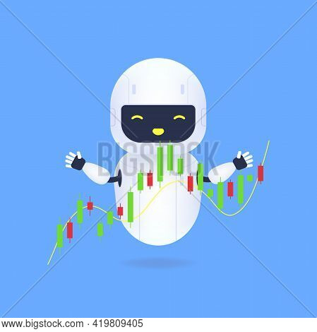 White Friendly Robot With Forex Charts. The Trading Robot Monitors The Movement Of The Stock Value O
