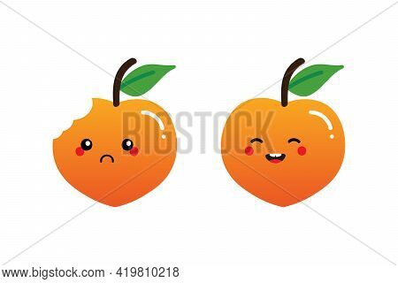 Couple Of Cartoon Style Peach Fruit Characters Cute And Smiling And Sad With Bite Mark.