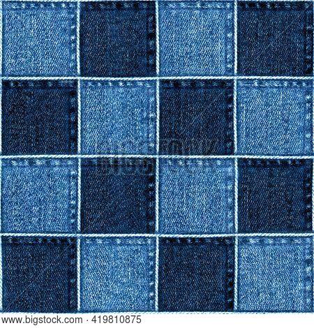 Jeans Patchwork Fashion Background. Denim Blue Grunge Textured Seamless Pattern. Textile Fabric Mate