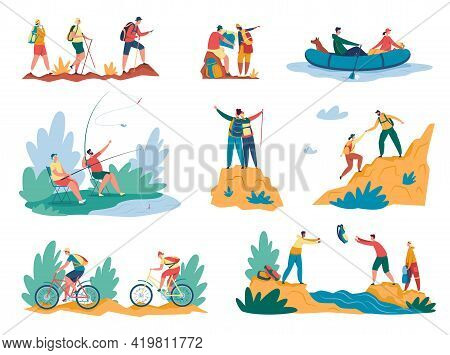 Hiking Activity. Tourists Walking With Backpack, Climbing Mountains, Riding Bikes, Fishing. Summer V