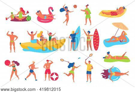 People On Beach. Man And Woman In Swimsuits Sunbathing, Relaxing On Beach Towel. Friends Playing Spo