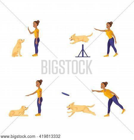 Dark Skinned African-american Girl Training Labrador Retriever. Teaching Different Commands. Set Of