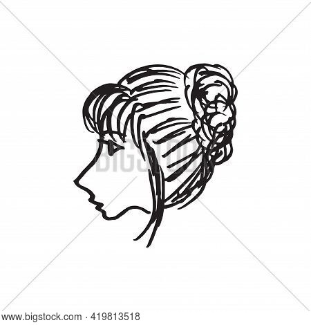 Beautiful Woman Face Hand Drawn Vector Illustration. Stylish Original Graphic Portrait With A Beauti