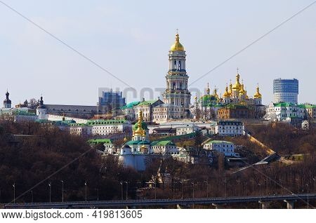 Picturesque View Of Famous Kyiv's Hills Against Sky. Scenic Landscape Of Ancient Kyiv Pechersk Lavra