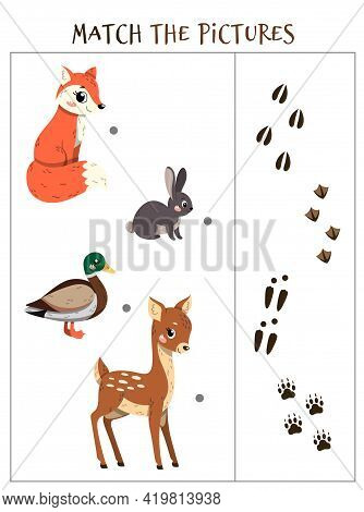 Matching Game. Puzzle For Children. Education Game For Kids. Match The Right Object. Animal Tracks.