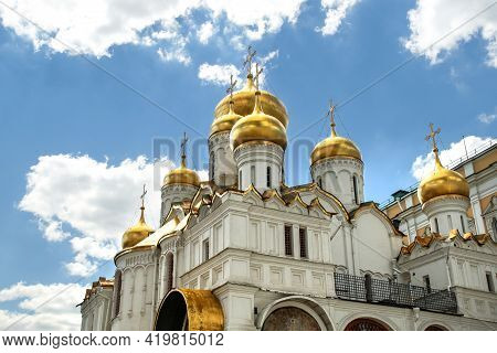 Moscow, Russia - 06 14 2016: Annunciation Cathedral Domes. The Cathedral Was A Home Church Of Moscow
