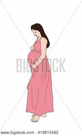 Illustration Of Pregnant Women Isolated On White Background