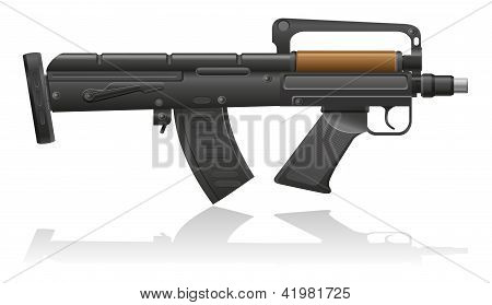 Machine Gun With A Short Barrel Vector Illustration
