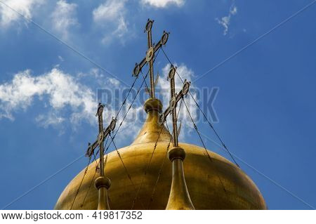 Moscow, Russia - 06 14 2016: Crosses Of The Annunciation Cathedral Domes. The Cathedral Was A Home C