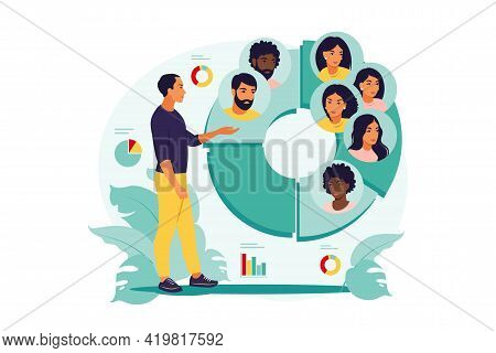 Audience Segmentation Concept. Man Near A Large Circular Chart With Images Of People. Vector Illustr