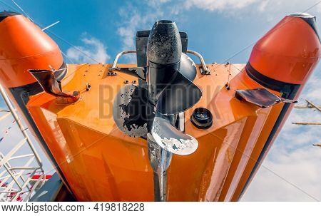 Orange Life Rescue Boat Vessel Screw Propeller Low Perspective