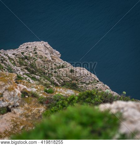 Aerial View Of Turquoise And Crystal Clear Water At The Cliff Coast. Mallorca Coastline, Balearic Is