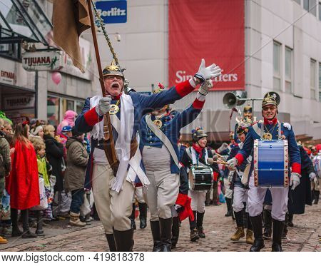 Aachen, Germany - February 12, 2018: The Aachen Rose Monday Procession In The Carnival.