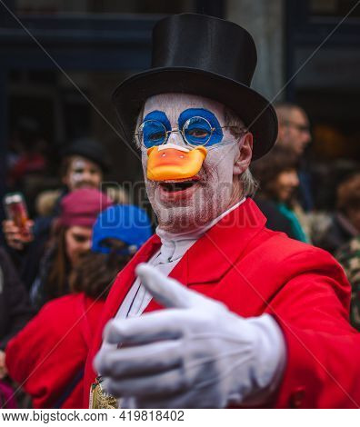 Aachen, Germany - February 12, 2018: The Aachen Rose Monday Procession In The Carnival. Close Up Of