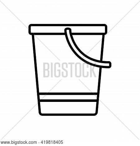 Bucket With Handle Down For Gardening, Icon Isolated On White Background. Garden Tools, Household Pl