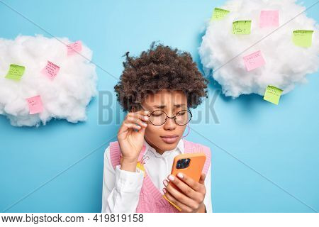Displeased Frustrated Unhappy Ethnic Female Office Worker Has To Prepare Urgent Report Focused At Sm