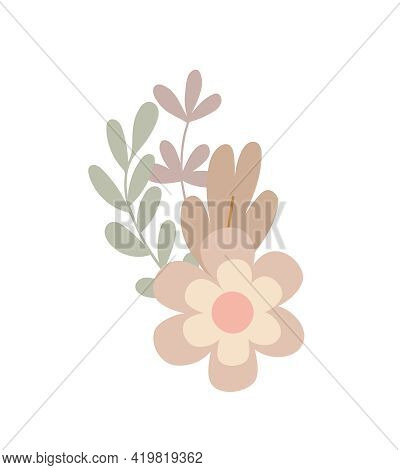 Simple Flowers Pastel-colored Floral Arrangement In Flat Style Vector Illustration, Symbol Of Spring