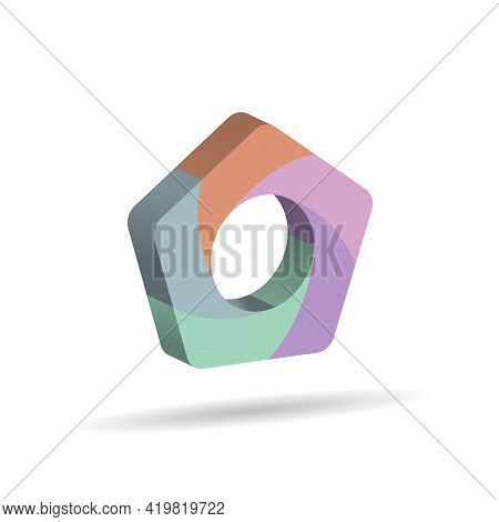 Three-dimensional Pentagon Divided Into Five Colored Parts. Template For Infographics. Color Design